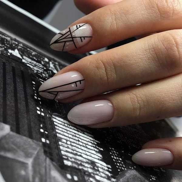 Превосходные идеи геометрического маникюра 2020-2021 – яркий и nude дизайн на фото
