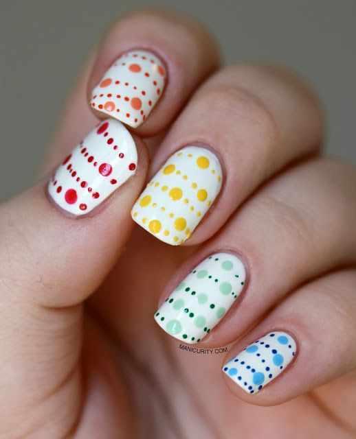 дизайн ногтей точками дотс маленькие