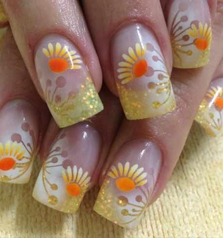 nail design airbrush дизайн ногтей аэрография ромашка
