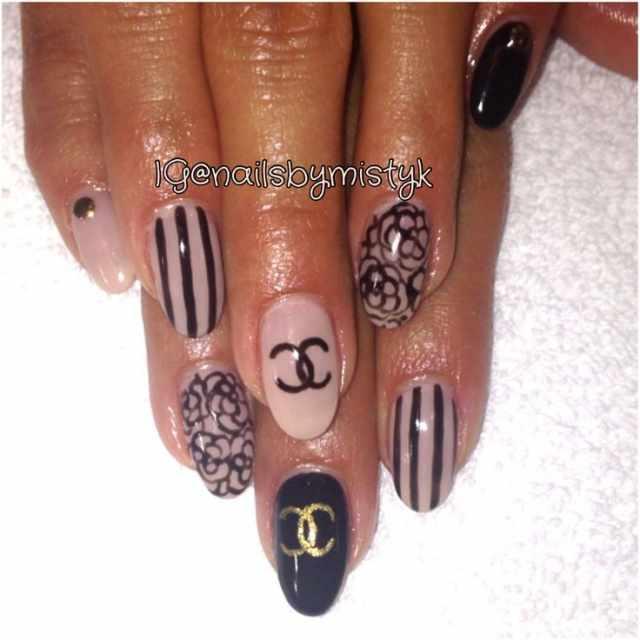 дизайн ногтей шанель чёрные полоски
