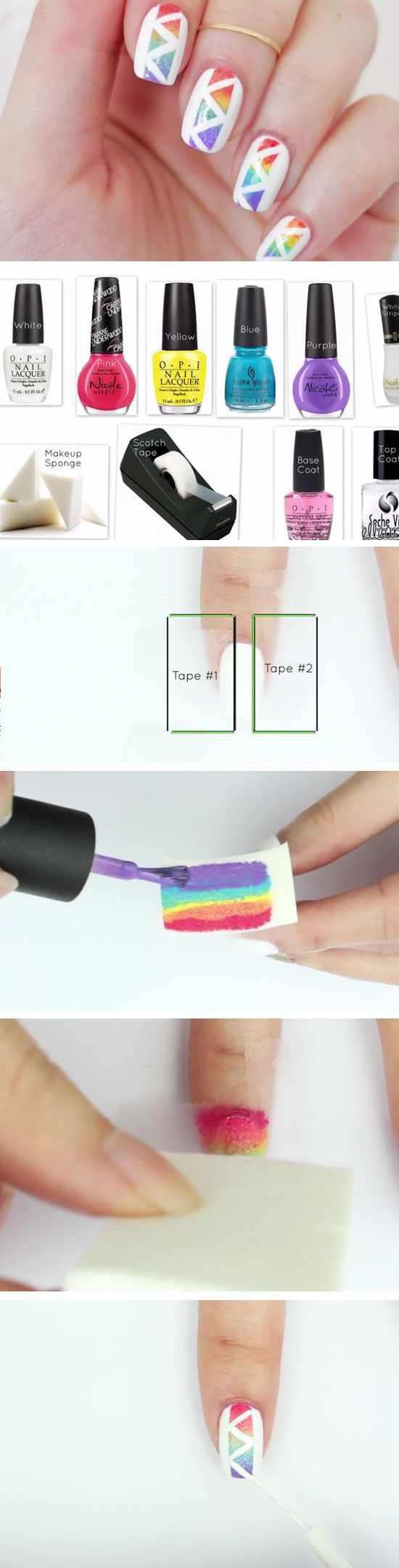 геометрический дизайн ногтей треугольники на белом