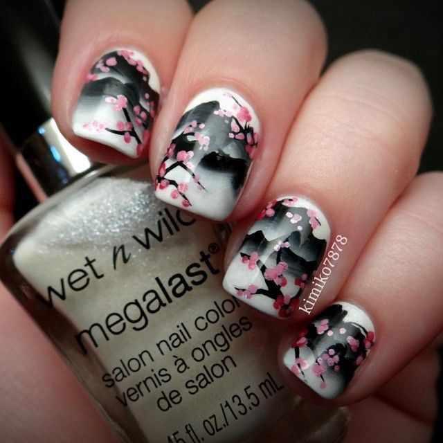 nail design airbrush дизайн ногтей аэрография сакура