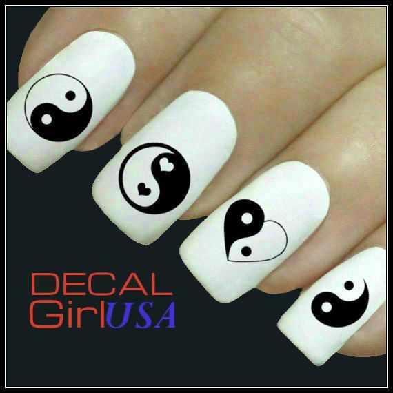 nails yin yang black and white heart