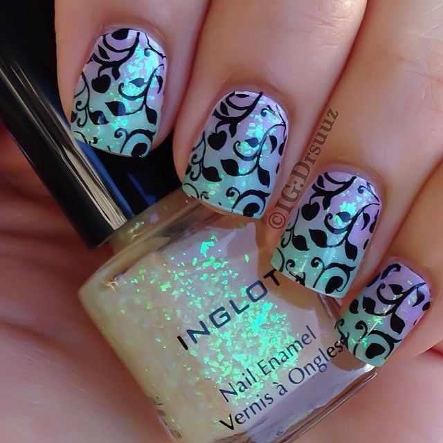 nail design airbrush дизайн ногтей аэрография с блёстками