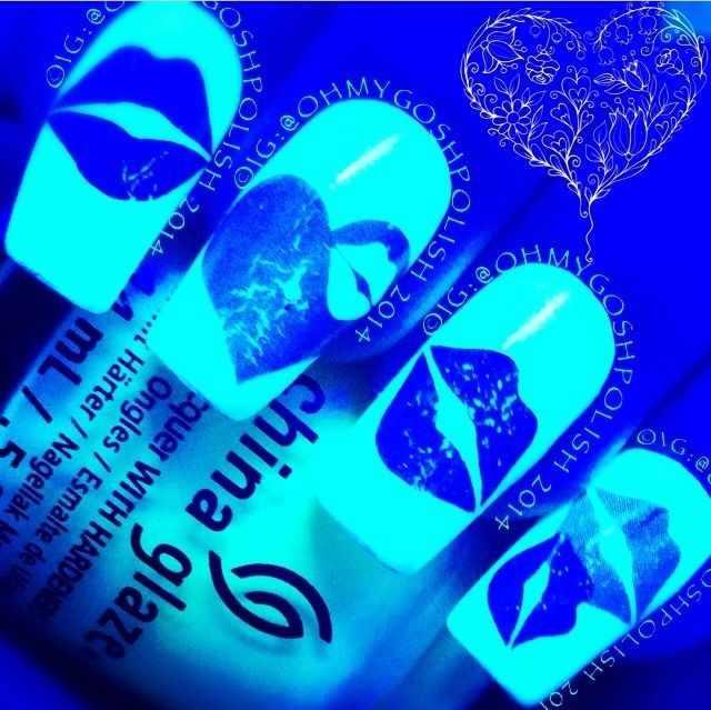 неоновый дизайн ногтей поцелуи