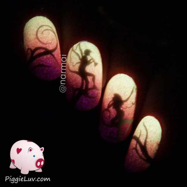 неоновый дизайн ногтей слайдер ангел