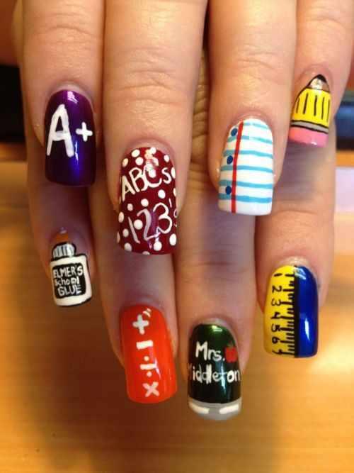 школьный дизайн ногтей арифметика