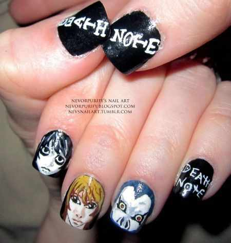design nail anime анимешный дизайн ногтей тетрадь сметри