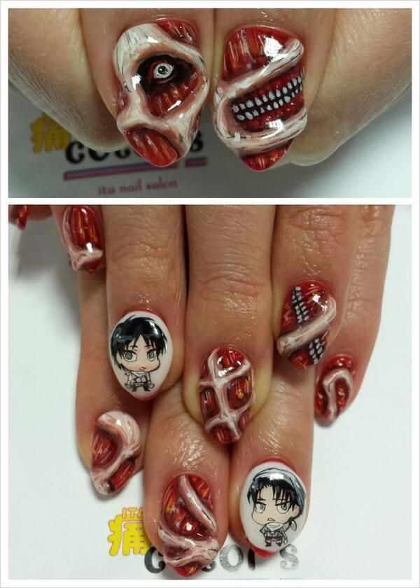 design nail anime анимешный дизайн ногтей монстр