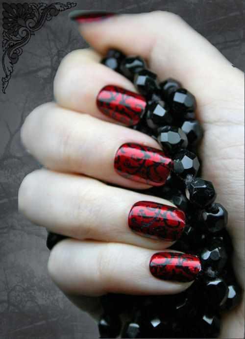 red black manicure красно чёрный дизайн ногтей рисунок