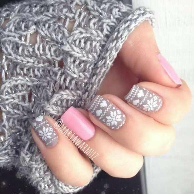 winter manicure with a pattern sweater зимний дизайн ногтей с изображением текстуры свитера 2015 -2016 серо белый