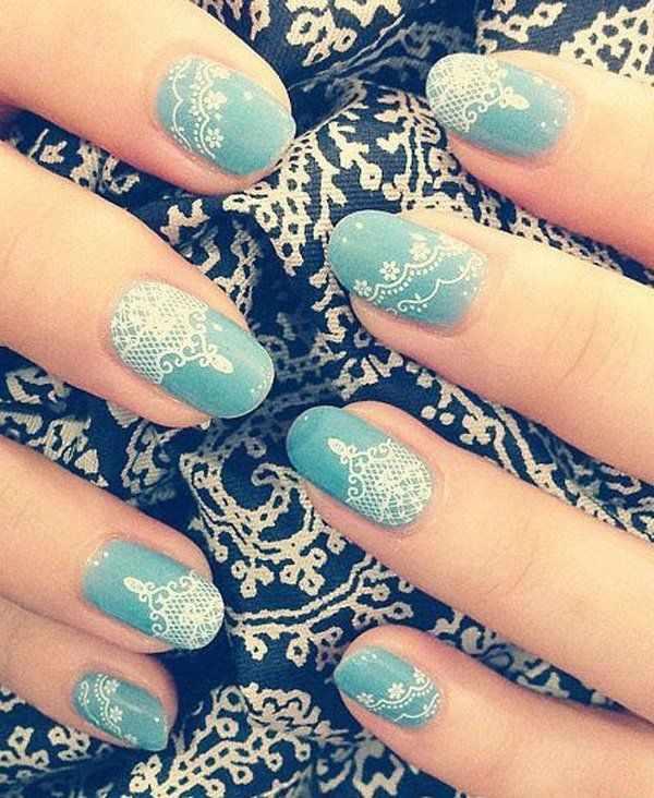 ногти вуаль колготки кружева белый nail design lace