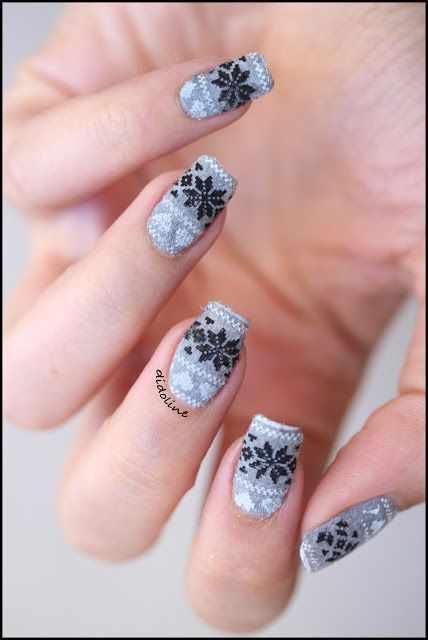 winter manicure with a pattern sweater зимний дизайн ногтей с изображением текстуры свитера 2015 -2016 снежинки