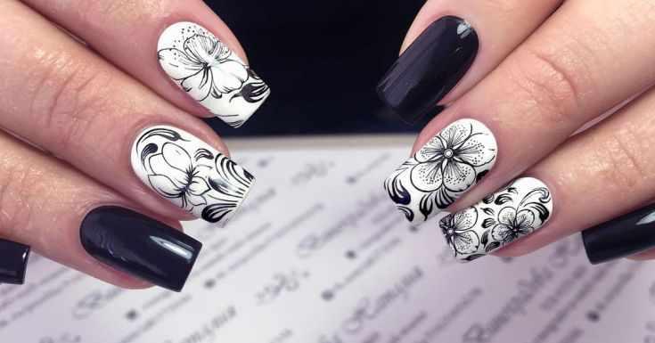 маникюр черно белый дизайн ногтей