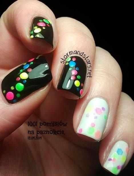 дизайн ногтей точками дотс разноцветные капли