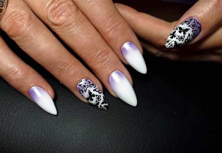 Маникюр фиолетовый с белым