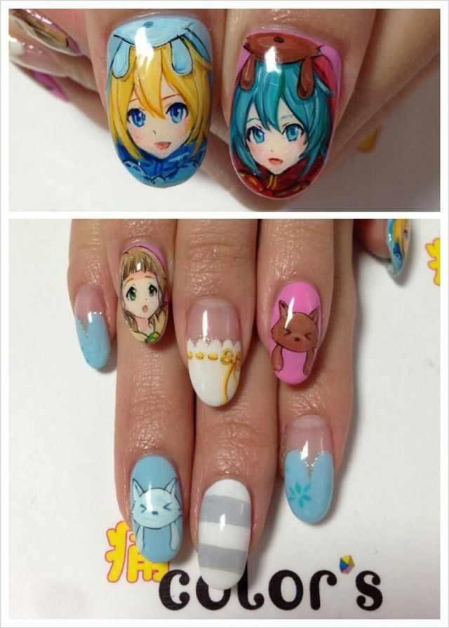 design nail anime анимешный дизайн ногтей девушка и котики