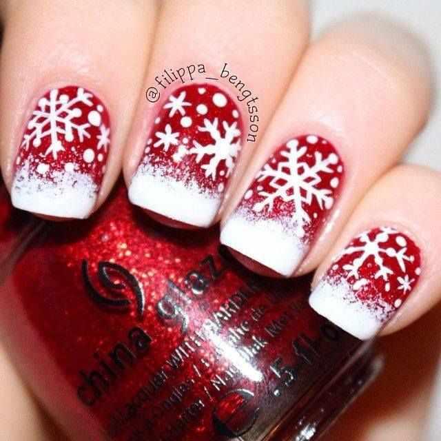 beautiful red manicure white snowflace красно белый маникюр со снежинкой