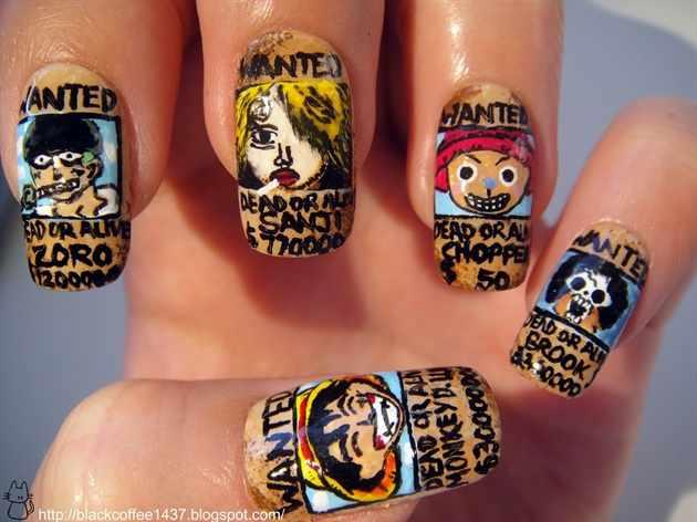 design nail anime one piece анимешный дизайн ногтей