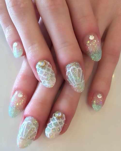 trendy nail design 2015 русалка