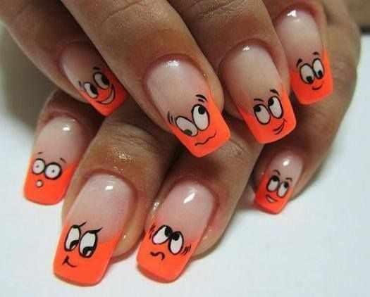 оранжевый маникюр ногтей рожицы