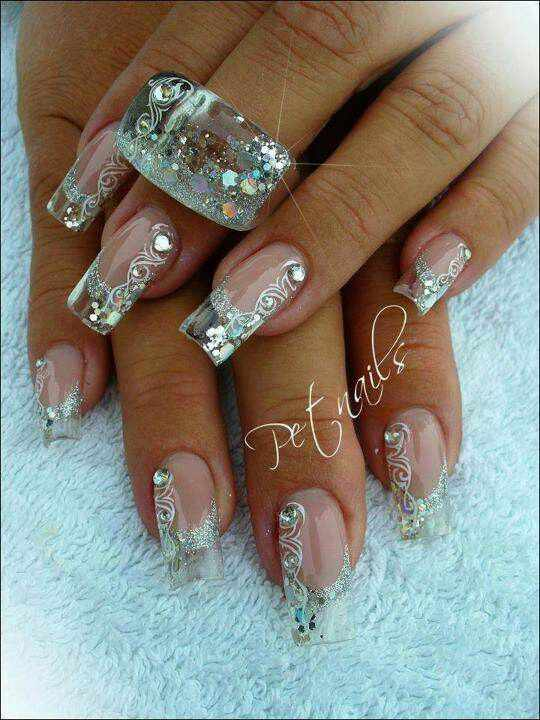 transparent nail design прозрачный маникюр роспись manicure with transparent tips