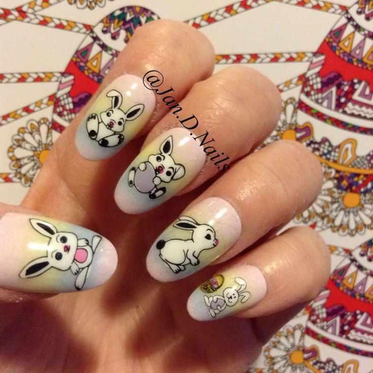 маникюр с кроликами и зайцами