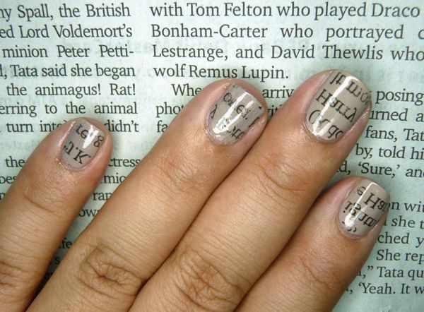 газетный дизайн ногтей на газете Newspaper nail design