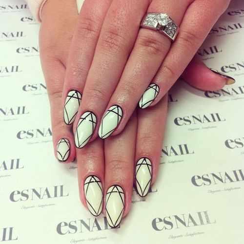 геометрический дизайн ногтей мятный цвет