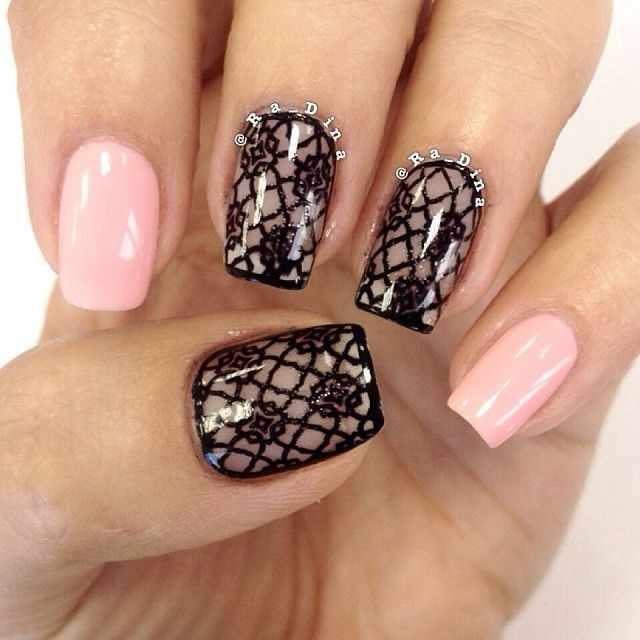 ногти кружева розовый цвет nail design lace