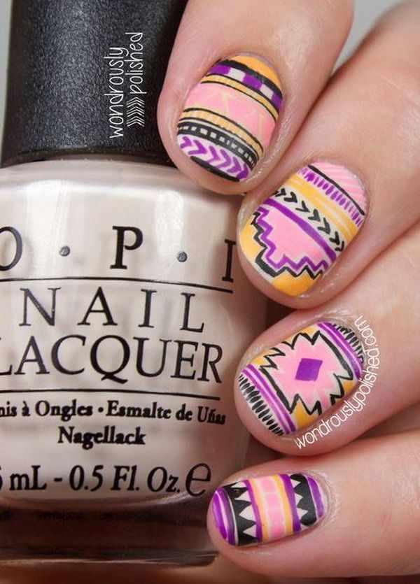 геометрический дизайн ногтей ацтеки