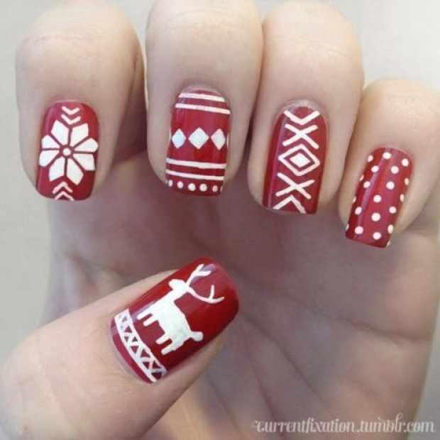 beautiful red manicure white winter красно белый маникюр зимний стиль рисунка свитера