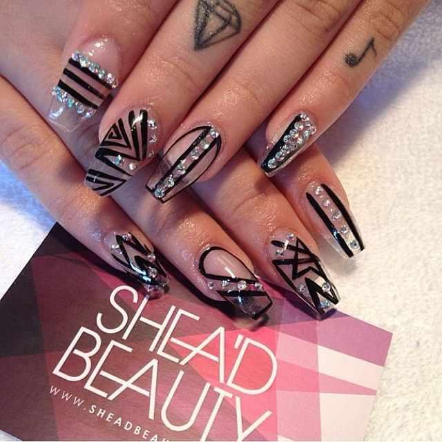 transparent nail design прозрачный маникюр черный manicure with transparent tips