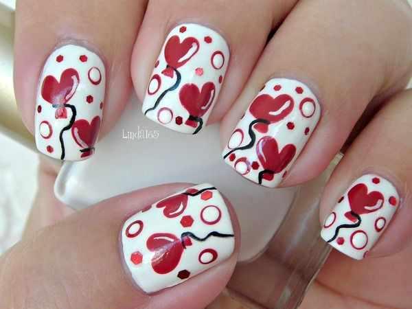 design nail heart маникюр с валентинкой