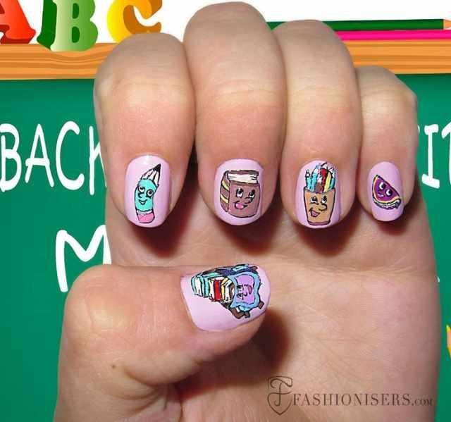школьный дизайн ногтей арт книги
