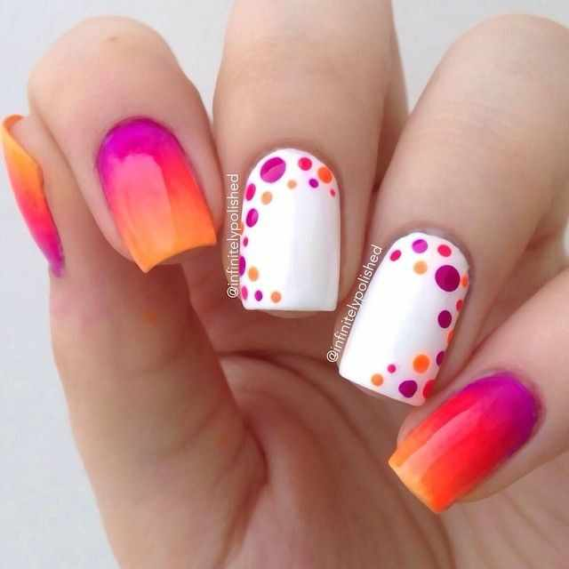 оранжевый маникюр ногтей градиент