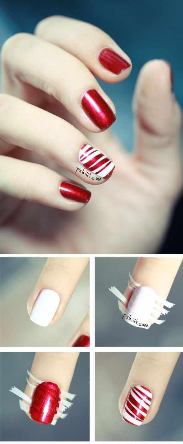 beautiful red manicure white красно белый маникюр пошаговый