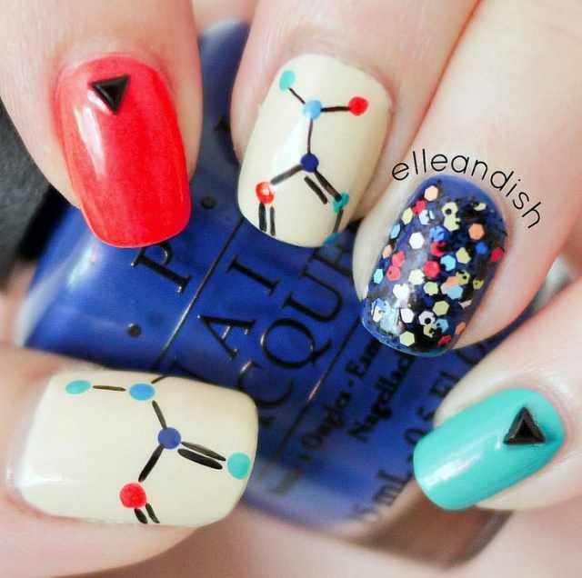 школьный дизайн ногтей химия