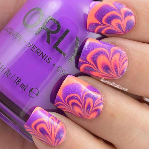 оранжевый маникюр ногтей водный