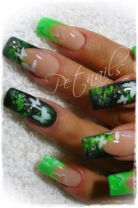 nail design airbrush дизайн ногтей аэрография бабочки в зеленом лесу