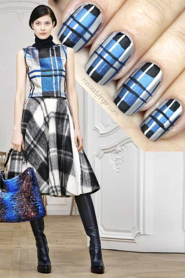 manicure under a blue dress маникюр под синее платье клетчатый