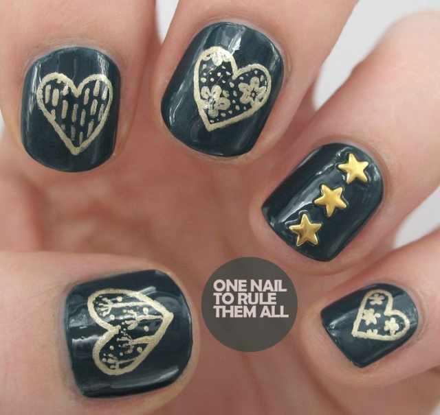 design nail heart маникюр с валентинкой звездочки