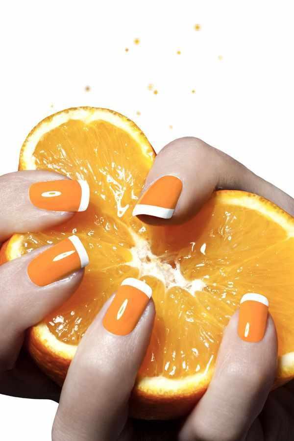 оранжевый маникюр ногтей белые кончики лимон