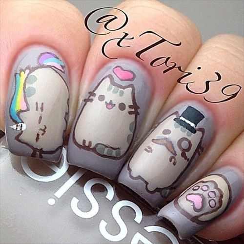 design nail anime анимешный дизайн ногтей кот