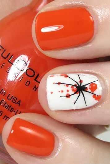 оранжевый маникюр ногтей паучёк