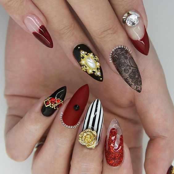 дизайн ногтей малиновый маникюр