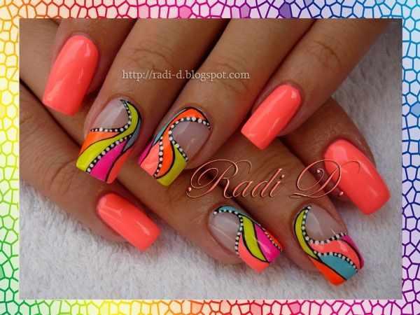 оранжевый маникюр ногтей зелёный