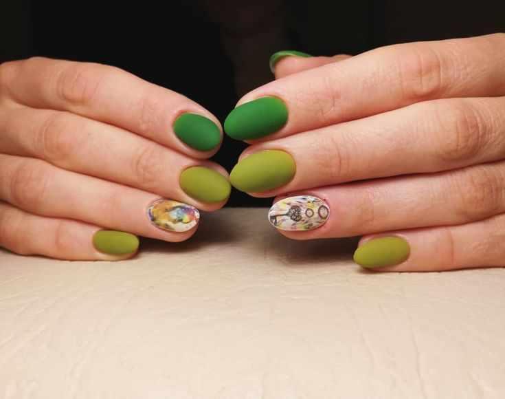 50+ дизайн ногтей в зеленых тонах 2018