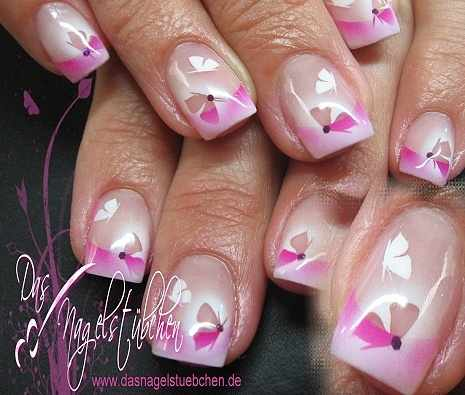 nail design airbrush дизайн ногтей аэрография бабочка
