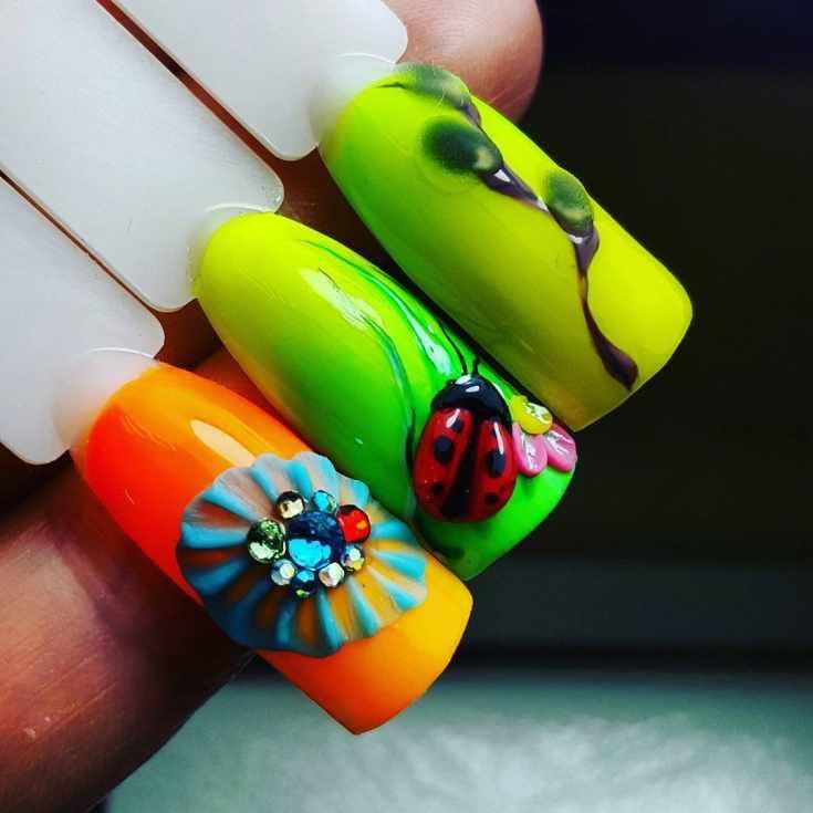 Веточка вербы на ногтях и пасхальный маникюр